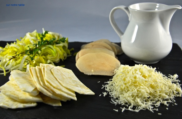 Ingredients: potatoes, celery root, leeks, Gruyère & cream