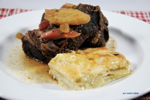 Braised beef short ribs & potato celery root gratin