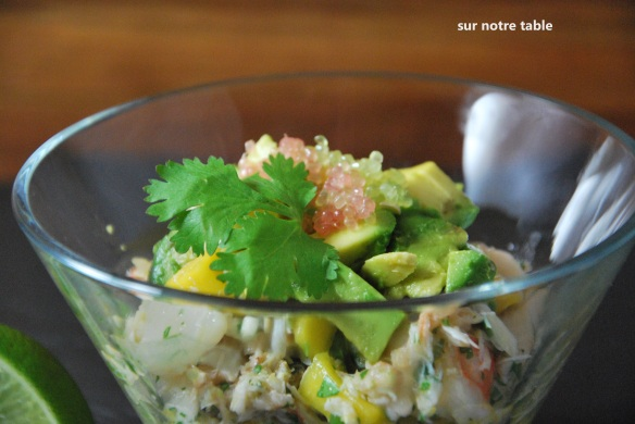 crab, shrimp and avocado appetizer