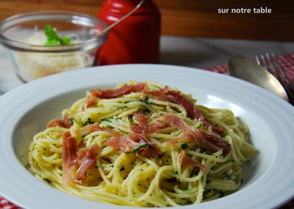 four-herb pesto spaghettini